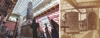 Left: The Ruddock Family Cast Court, V&A. © Victoria and Albert Museum, London. Right: The south-west corner of the North Court, showing the cast of Trajan's Column, J. Davis Burton, 1868. Museum no. 60739. © Victoria and Albert Museum, London