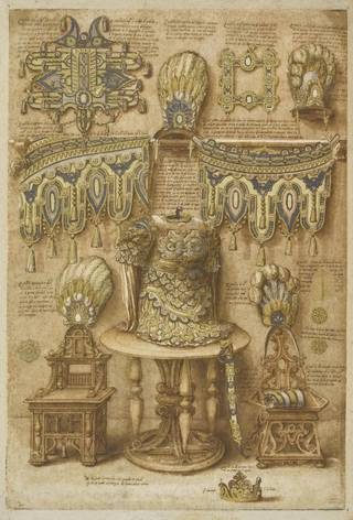 Design drawing of arms, armour, horses' trappings and more, in gold, blue and white. Decorative and grand
