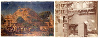 Left to right: The Sanchi Tope, oil painting, 1870 – 74, India. Museum no. 09200(IS). © Victoria and Albert Museum, London; Photograph showing the Sanchi Tope on display in the Architecture Courts of the South Kensington Museum before it was destroyed, Isabel Agnes Cowper, about 1872, England. Museum no. 72507. © Victoria and Albert Museum, London