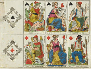 Advertising sheet of French revolutionary playing cards showing sixteen images of the revolutionary equivalent of Aces, Kings, Queens and Knaves. An explanation of the cards and a grant of patent or copyright is attached to the sheet.