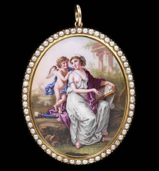 Sappho, inspired by Love, Composes an Ode to Venus, pendant, about 1800, Switzerland. Museum no. M.280-1919. © Victoria and Albert Museum, London