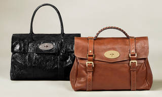 Left: Black slightly shiny handbag with handle and silver closure. Right: Brown handbag with plaited handle and buckles