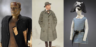 Three images - one of a Frankenstein model/costume, one of a man dressed as a spy in a grey trench coat and hat, and one of a children's pirate costume made of a hat with a skull and crossbones, an eye patch, a blue and white stripy large shirt with a black belt.
