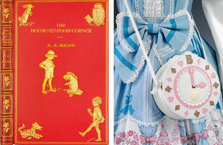 Left: Red 'The House at Pooh Corner' book with gold flowers on the spine, and a gold Rabbit, Owl, Tigger, Eeyore and Christopher Robbin on the front. Right: Alice in Wonderland/Lolita style blue dress with a frilly bow in the middle. There is also a white, brown and pink round clock shaped bag.