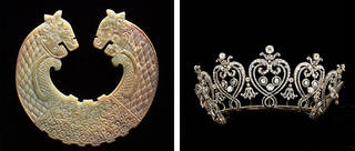 Left: Round, light coloured dragon shaped engraved plaque. Right: Silver tiara with heard shaped detailing.