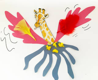 An illustrated giraffe's head with its tongue out, with a blue octopus body , yellow spots, and pink, red, and yellow feather wings.