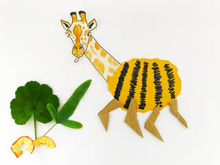 An illustrated giraffe head with its tongue out, a yellow and black fuzzy bumble bee's body, eating a plant made out of leaves and pencil sharpenings
