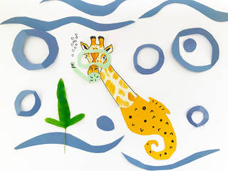 An illustrated giraffe with a yellow seahorse body, green snorkel, under a blue paper sea