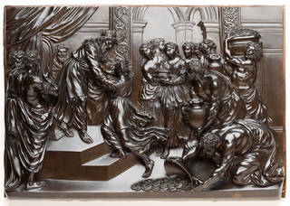 Brown patinated bronze plaque depicting Solomon and the Queen of Sheba by Giuseppe Piamontini