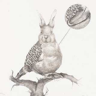 A black and white drawing of a rabbit's head, with a budgie's body. Sitting on a tree branch.