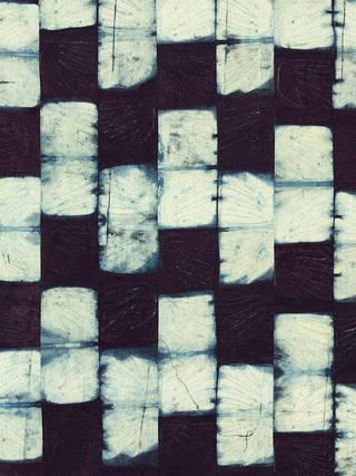 Detail of a stitch-resist, adire alabere textile, indigo resist-dyed cotton, Ibadan, Nigeria, 1960s. Museum no. Circ.593-1965. © Victoria and Albert Museum, London