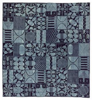 Adire eleko cloth in the Ibadan dun pattern, indigo resist-dyed cotton, Ibadan, Nigeria, 1960s. Museum no. Circ.588-1965. © Victoria and Albert Museum, London