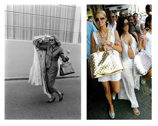 Left to right: Grace Kelly's departure from Hollywood (Photo by Allan Grant The LIFE Images Collection via Getty Images); Paris Hilton and Kim Kardashian with Marc Jacobs for Louis Vuitton 'Monogram Miroir' gold speedy handbags in Sydney, Australia 2006. Photo by PhotoNews International Inc, Getty Images