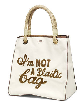 'I'm NOT a Plastic bag' tote bag, Anya Hindmarch and We Are What We Do, 2007, London, England. Museum no. T.176-2019. © Victoria and Albert Museum, London