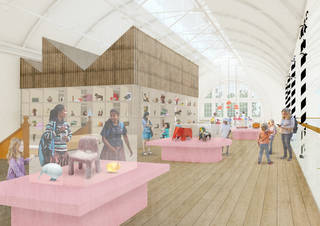 Architectural render of the Design Gallery at the V&A Museum of Childhood