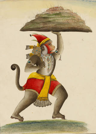 Hanuman, unknown artist, late 19th century, Punjab Plains, ink and colour wash on paper. Museum no. IM.2:212-1917. © Victoria and Albert Museum, London