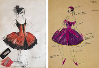 (Left) Costume for Margot Fonteyn in Paquita designed by Philip Prowse © Royal Academy of Dance; (Right) Costume for Fuschias by Claud Lovat Fraser  ©  Victoria and Albert Museum, London