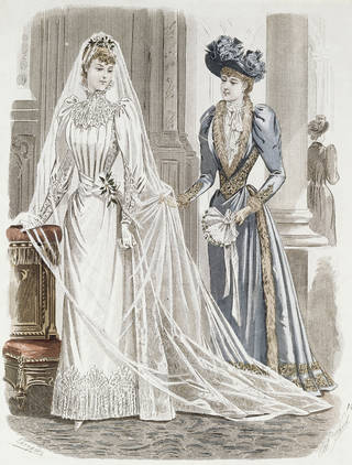 Bridal fashion plate  from the 1890s showing bride and bridesmaid