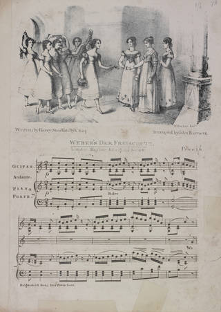 An illustrated single page of sheet music in black and white for Weber's Der Freischutz (The Bridesmaid's song)