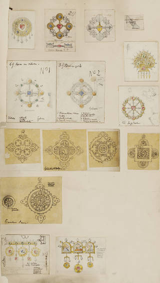Single page of hand-drawn designs for brooches