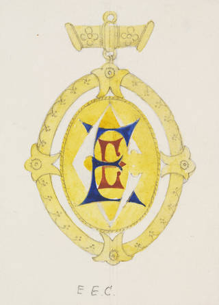 Hand-drawn design for jewellery in yellow with monogram.