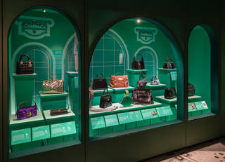 Green coloured display case in the shape of arched windows displaying bags