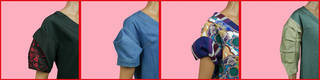 Four different styles of sleeves in a variety of fabrics and colours on pink backgrounds.