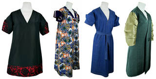 Four different dresses in different materials on a white background.