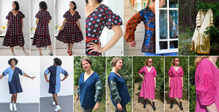 Composite image of lots of different dresses in a variety of colours and patterns modelled on people.