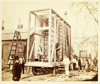 View of the construction of the packing case and horse-drawn 'van' for transport of Raphael Cartoons from Hampton Court to South Kensington Museum
