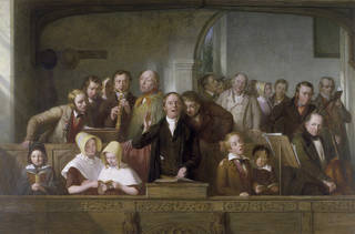 Painting of people in a church singing