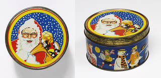 Biscuit tin with a scene of Father Christmas on the lid. Images of children on the side, and a snowman