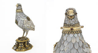 Silver-gilt, gold, gems and mother-of-pearl cup in the form of a partridge with feathers of overlapping mother of pearl; removable head with gem set eyes, standing on an octagonal plinth.