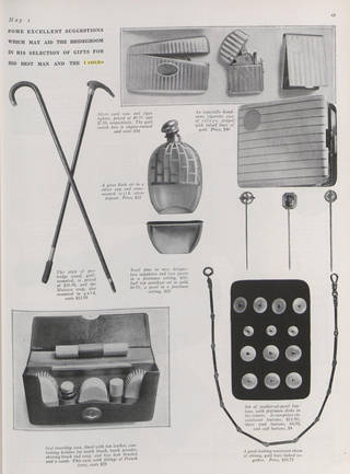 Black and white page from Vogue magazine showing canes, a flask, tie pins and a hip flask