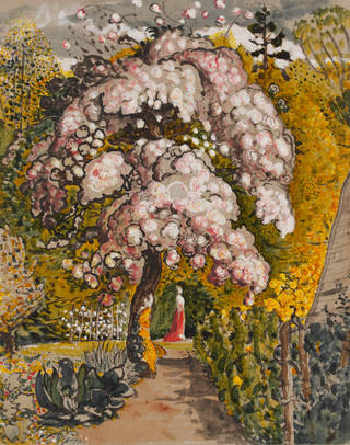 Watercolour painting of a pink blossom tree in flower in a garden with a lady in a red dress framed under the branches and lots of mustard and bright yellow flowers.
