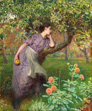Painting of a woman in a walled garden, leaning against a tree with an apple in her hand. There are orange-coloured flowers in the foreground