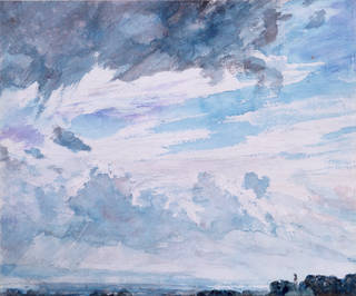 Watercolour painting of a bly sky with fluffy grey and white clouds