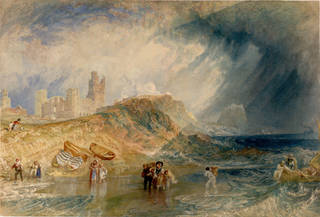 Watercolour sea and landscape with people walking on the beach and wading in the sea. There are boats on the beach and a castle in the distance on a hill. The sky over the land looks calm with white clouds but the sky over the sea looks stormy and darker. The waves look choppy.