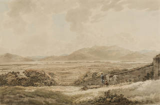 Watercolour lanscape painting of fields with hills in the distance. Muted palette of colours in browns, greens and creams. Two people can be seen standing by a wall with a white horse wearing a saddle.