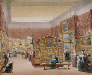 Watercolour of an exhibition of paintings hanging on the walls of a room with draped red/pink curtains. There are people looking at the paintings.