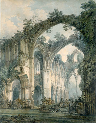 Watercolour painting of the Tintern Abbey ruins covered in foliage.