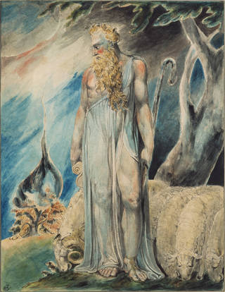 Watercolour of a tall figure of a man with long blonde beard, dressed in a long asymmetric tunic and carrying a staff. He is looking back over his right shoulder to a burning bush. He has grazing sheep by his feet and a tree over his left shoulder.