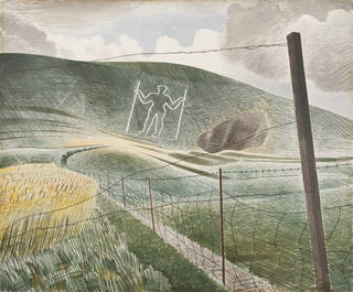 Watercolour painting with the chalky-white outline of a figure on the hill in the distance. The fields and grass show clear brush strokes is formulaic directions to create texture. In the foreground, you can see a wire fence and wooden post.