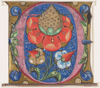 Brightly coloured and decorated page from a choirbook featuring a red flower inside the letter O decorated with flowers and foliage in reds, blues, greens and gold.
