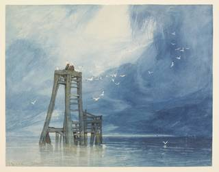 Watercolour with some quill pen and scraping out, depicting a view out to sea with a wooden structure surrounded by seabirds