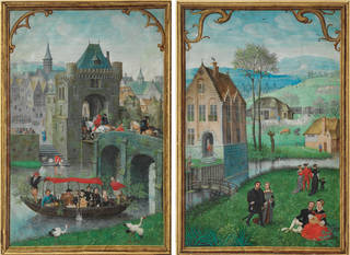 Double sided calendar leaf. The Month of May has a boating party in the foreground. April depicts courting couples.