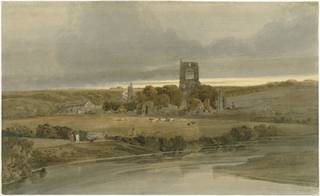 View of Kirkstall Abbey with river in the foreground. Two people with a dog on the left bank of the river. Browns and greens.