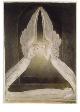 Two identical angels in white robes with wings extended and pointing upwards form a triangular shape with Christ as a corpse