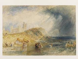 Watercolour of Holy Island, Northumberland, with people rushing ashore in small rowing boats. Castle in the background.