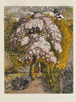 An apple tree in blossom in a walled garden and beyond the tree stands a woman in a red robe.